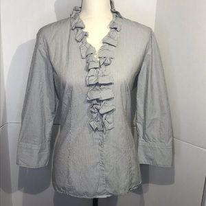 Talbots Ruffle Front Striped Button Shirt Size 10